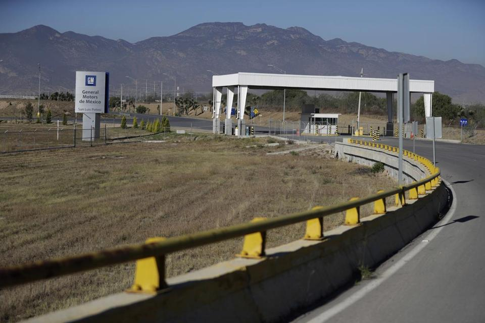 The entrance to the GM assembly plant in Villa de Reyes, outside San Luis Potosi, Mexico.