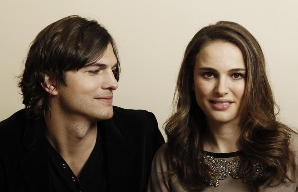 "Ashton Kutcher, left, and Natalie Portman posed for a portait in 2011 while promoting the film ""No Strings Attached."""