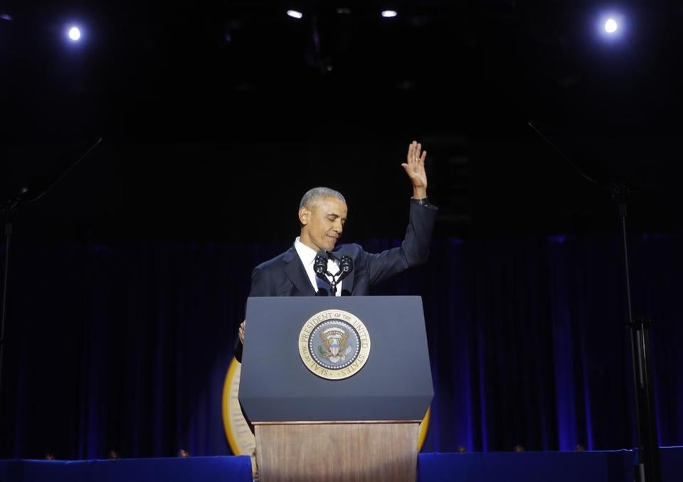 President Barack Obama waved after the conclusion of his farewell address in Chicago on Tuesday night.