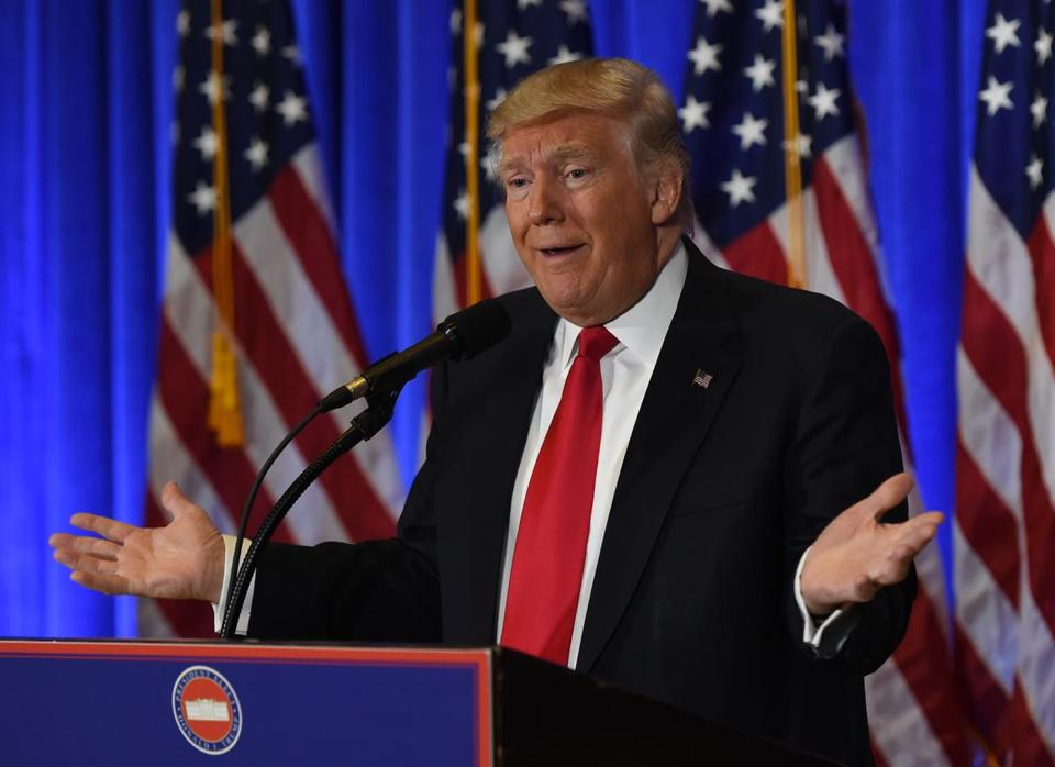 US President-elect Donald Trump speaks during a press conference Wednesday in New York.
