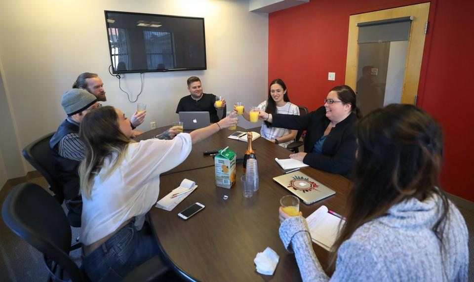 Employees at Pandemic Labs celebrated their first week on the job of Heidi Sheppard, an account lead.