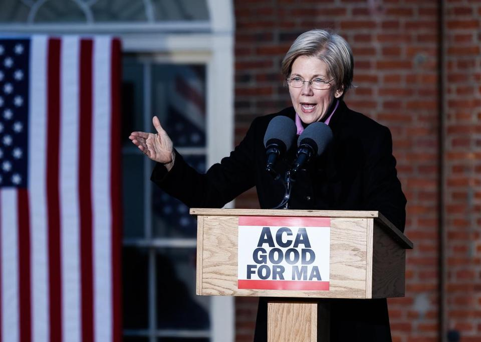 Senator Elizabeth Warren spoke during a rally for the Affordable Care Act in Boston on Sunday.
