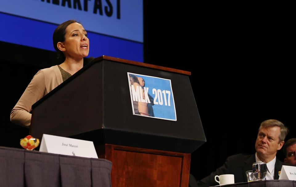 Senator Sonia Chang-Diaz gave an impassioned speech on criminal justice reform last month at the annual Martin Luther King Jr. breakfast in Boston.