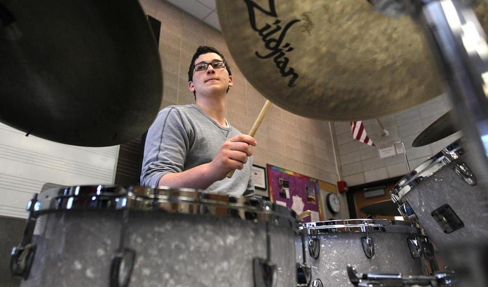 Nick Adair of the Foxborough High School Jazz Ensemble rehearsed in 2013.  A recent study from MIT found that people who are asked to repeat random series of beats tend to reorganize them according to familiar patterns.