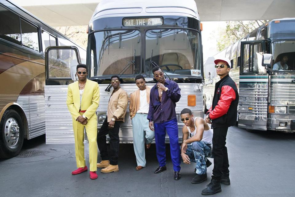 "Woody McClain, Elijah Kelley, Algee Smith, Luke James, Keith Powers, and Bryshere Gray in the BET miniseries ""The New Edition Story."""