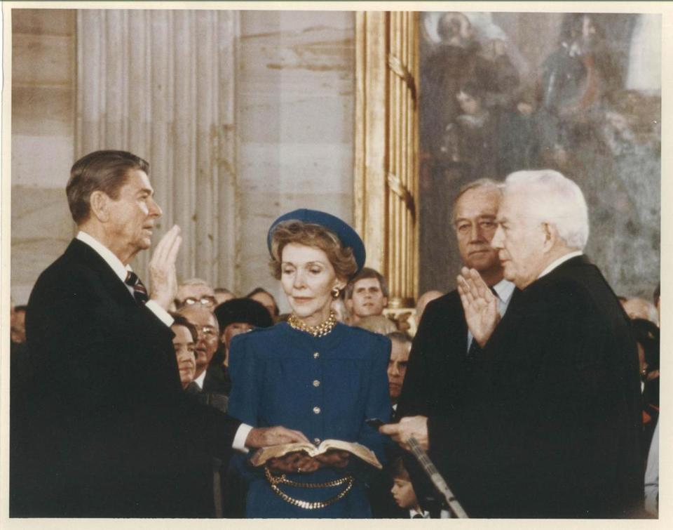 President Reagan took the oath of office at his second inauguration.