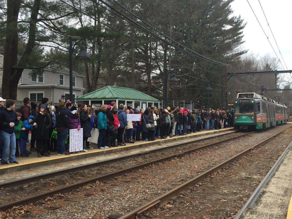 Crowds at the Woodland MBTA stop Saturday morning.