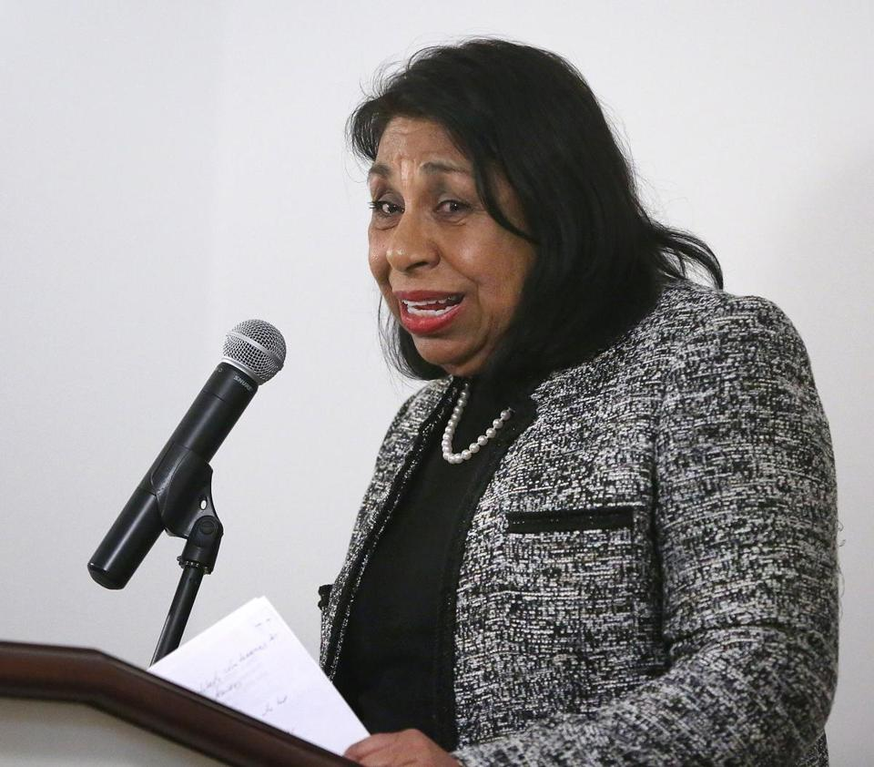 Sylvia Mendez speaking at Suffolk University's annual celebration of Dr. Martin Luther King Jr. at the Museum of African American History.