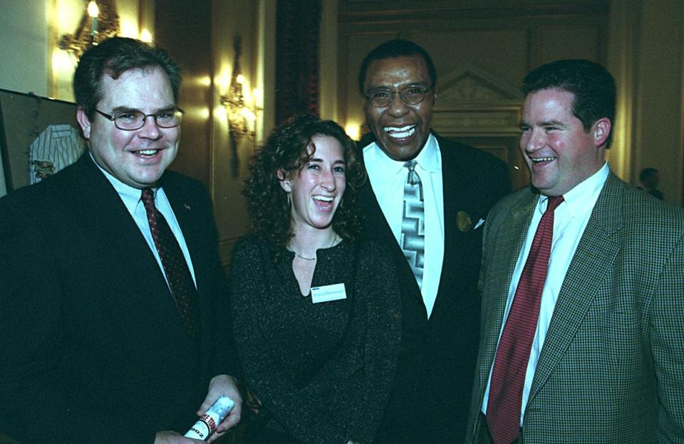 Dan Flynn (right) posed with Steve Colman of Quincy, Shana Masterson of Pawtucket, R.I., and Celtics legend JoJo White at a Muscle Team Boston event in 2002.