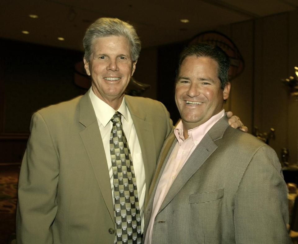 Dan Flynn (right) posed with former Red Sox player Mike Andrews at a WEEI/NESN fund-raiser at the Boston Marriot Copley Place in 2006.