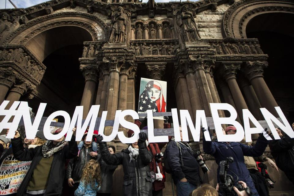 People took part in a Copley Square protest against President Donald Trump's executive orders restricting immigrants from seven predominantly Muslim countries.