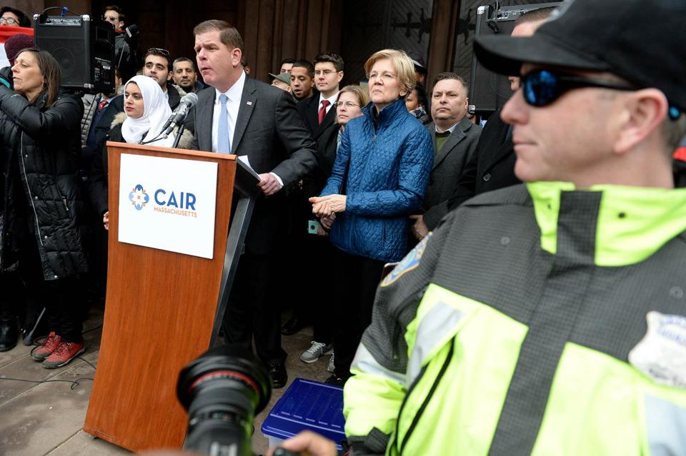 Boston Mayor Martin J. Walsh and US Senator Elizabeth Warren were present Sunday at the Copley Square protest.