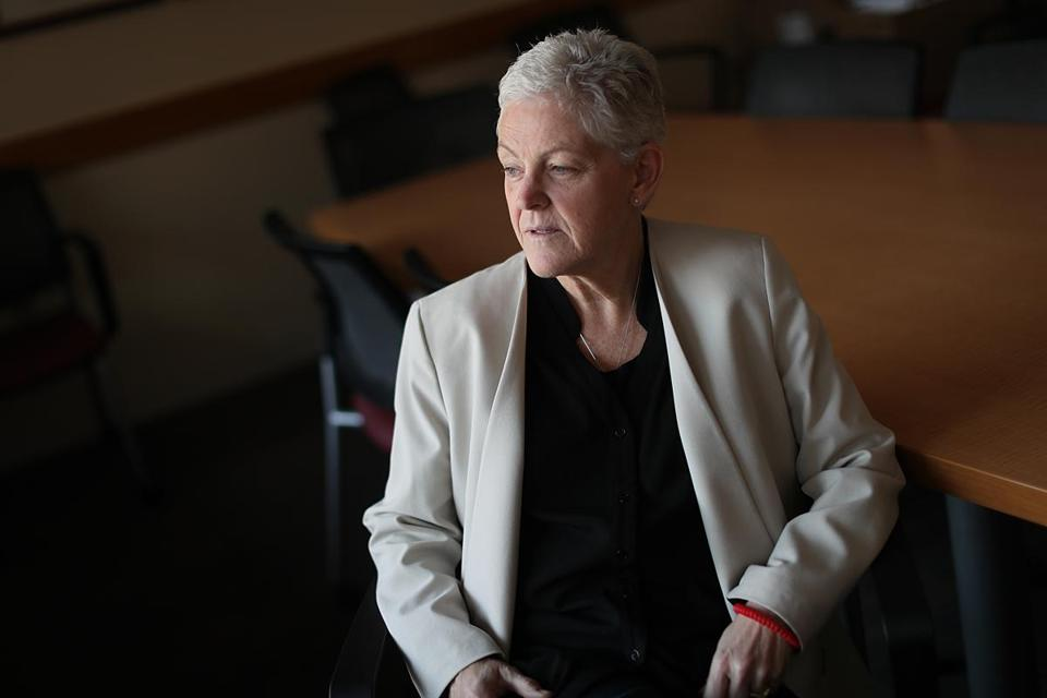 Gina McCarthy, the former head of the EPA, sat in her office at the Institute of Politics at the John F. Kennedy School of Government.