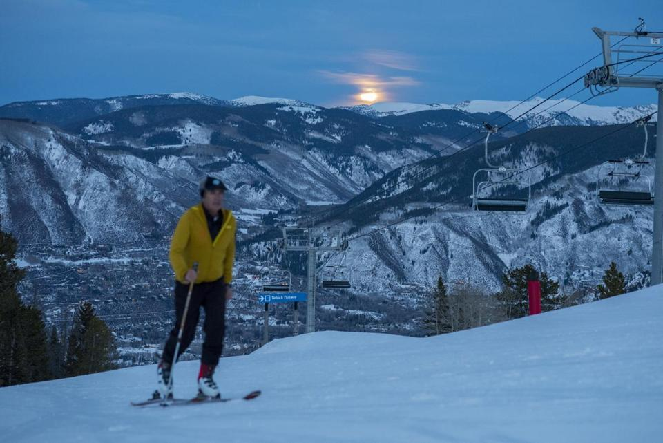 A skier moved up the mountain at Buttermilk Mountain in Aspen, Colo.