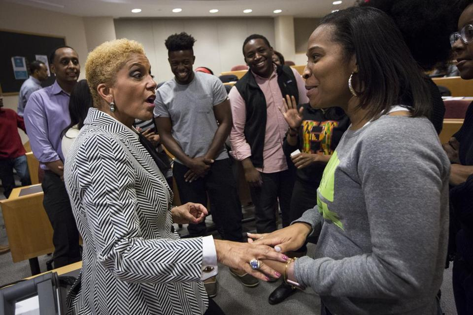 Linda Johnson Rice (left) of Ebony visited Harvard this month.