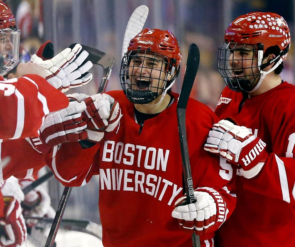 Chad Krys (center) was pleased to find his way onto the scoresheet in the Beanpot semifinal against BC.