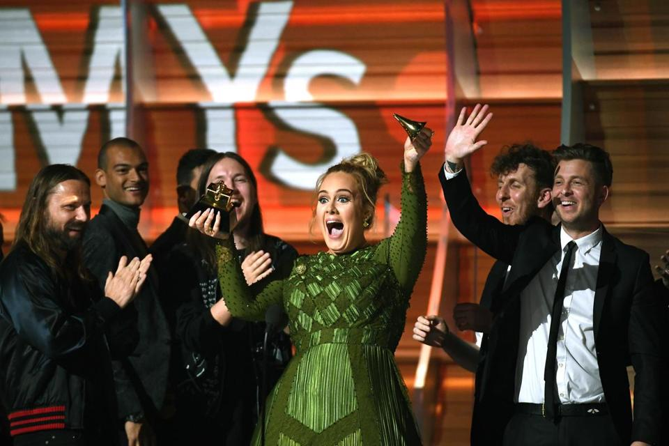 LOS ANGELES, CA - FEBRUARY 12: Recording artist Adele, winner of Album of the Year for '25,' speaks onstage during The 59th GRAMMY Awards at STAPLES Center on February 12, 2017 in Los Angeles, California. (Photo by Kevork Djansezian/Getty Images)