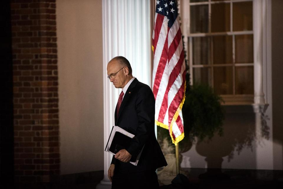 Andrew Puzder after a meeting with Donald Trump in New Jersey in November.