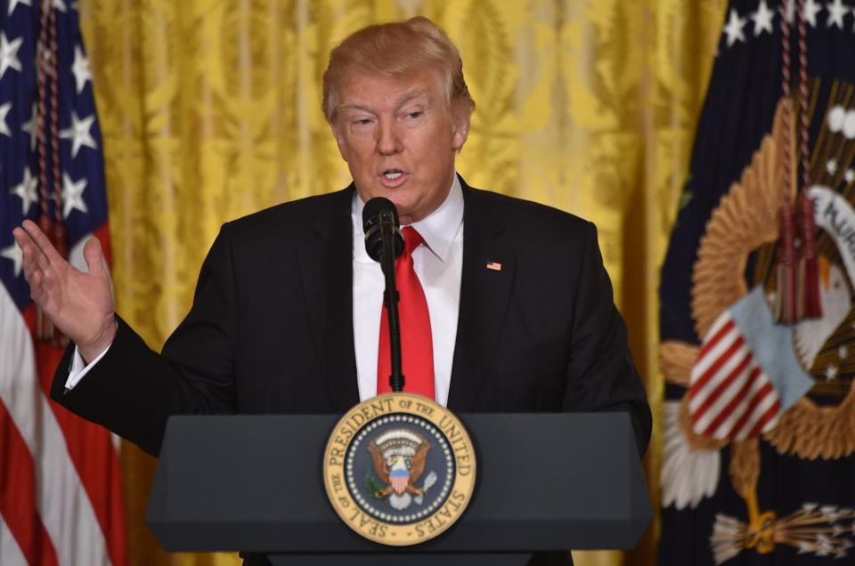 President Donald Trump speaks during a press conference at the White House Thursday.