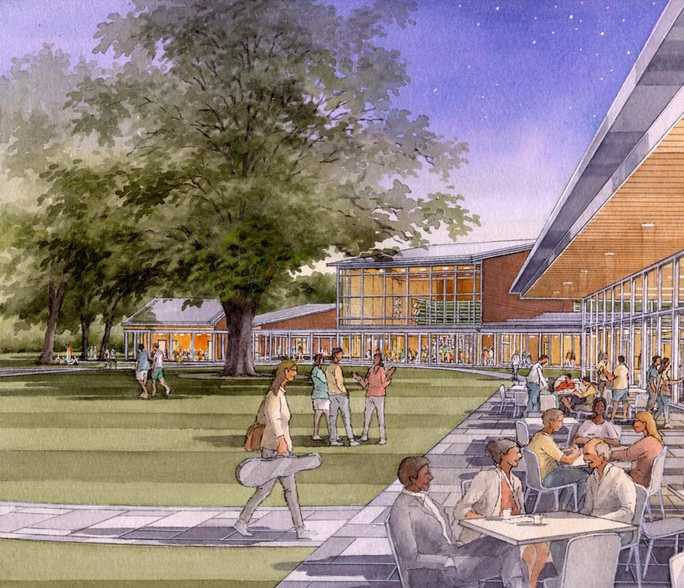 An artist's rendering of the new four-building complex planned for Tanglewood.