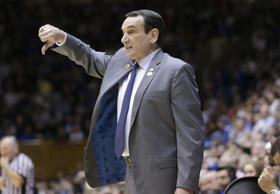 Duke head coach Mike Krzyzewski reacts during the first half of an NCAA college basketball game against Wake Forest in Durham, N.C., Saturday, Feb. 18, 2017. (AP Photo/Gerry Broome)