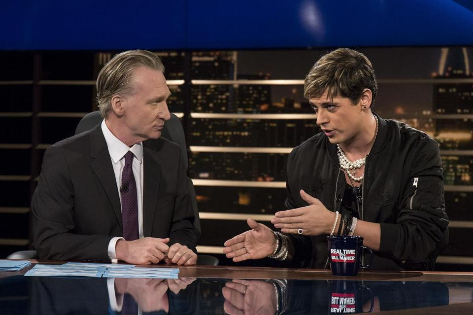 "Bill Maher (left) listened to Milo Yiannopoulos on HBO's ""Real Time with Bill Maher"" in February."