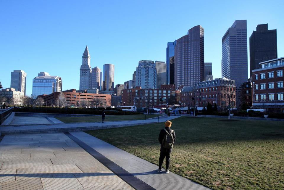 A pedestrian took in the view at the Rose Fitzgerald Kennedy Greenway in Boston.