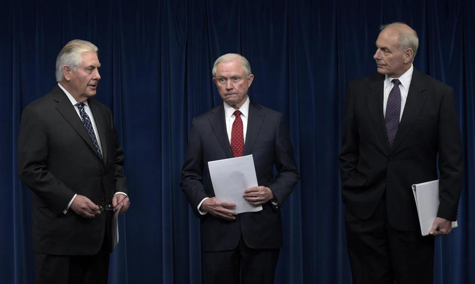 From left: Secretary of State Rex Tillerson, Attorney General Jeff Sessions, and Homeland Security Secretary John Kelly spoke about the new travel order.