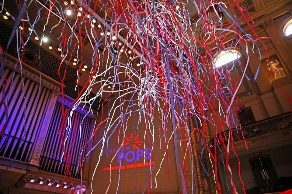Streamers filled the air after Boston investment firm Eaton Vance announced it has signed on to sponsor the Boston Pops July 4th concert on the Esplanade for three years.