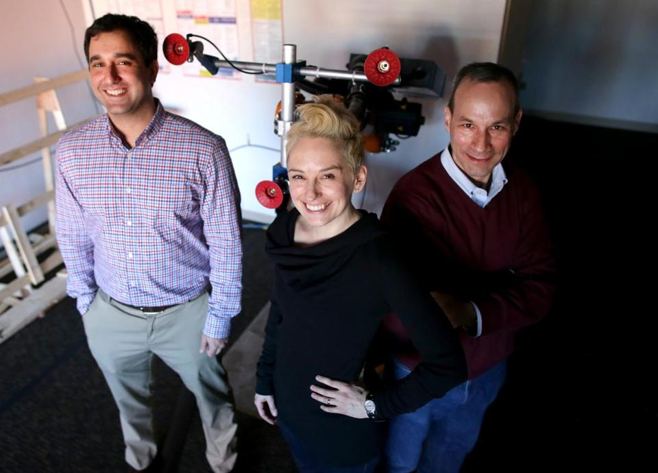 "Veo Robotics Inc. cofounders (left to right) are Scott Denenberg, Clara Vu, and Patrick Sobalvarro. The Cambridge company is designing a system that will let industrial robots ""see"" what's around them."