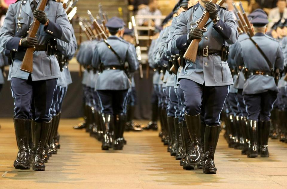 Graduates took part in the Troop Drill during the 82nd Recruit State Police graduation in Worcester in 2016.