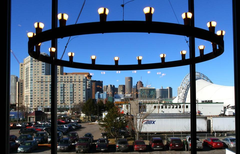 The view of Boston from Harpoon's beer hall in Southie.