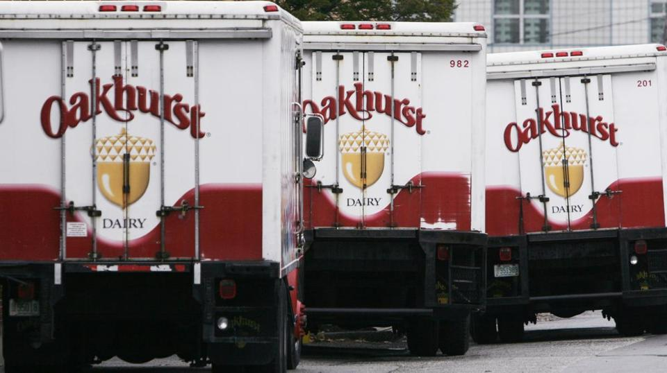 Oakhurst Dairy trucks are lined up at the family-owned independent dairy in Portland, Maine, Tuesday, Nov. 28, 2006. The dairy plans to begin using a biodiesel blend in 130 delivery trucks by the year's end, creating the largest private biodiesel fleet in New England, officials report. (AP Photo/Pat Wellenbach)
