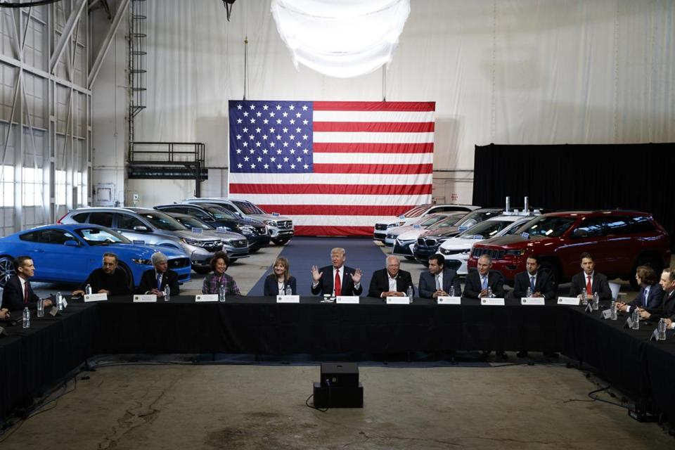 President Donald Trump hosted a round-table discussion at the American Center of Mobility in Ypsilanti, Mich., on Wednesday as he prepared to move against Obama-era automobile fuel consumption rules.
