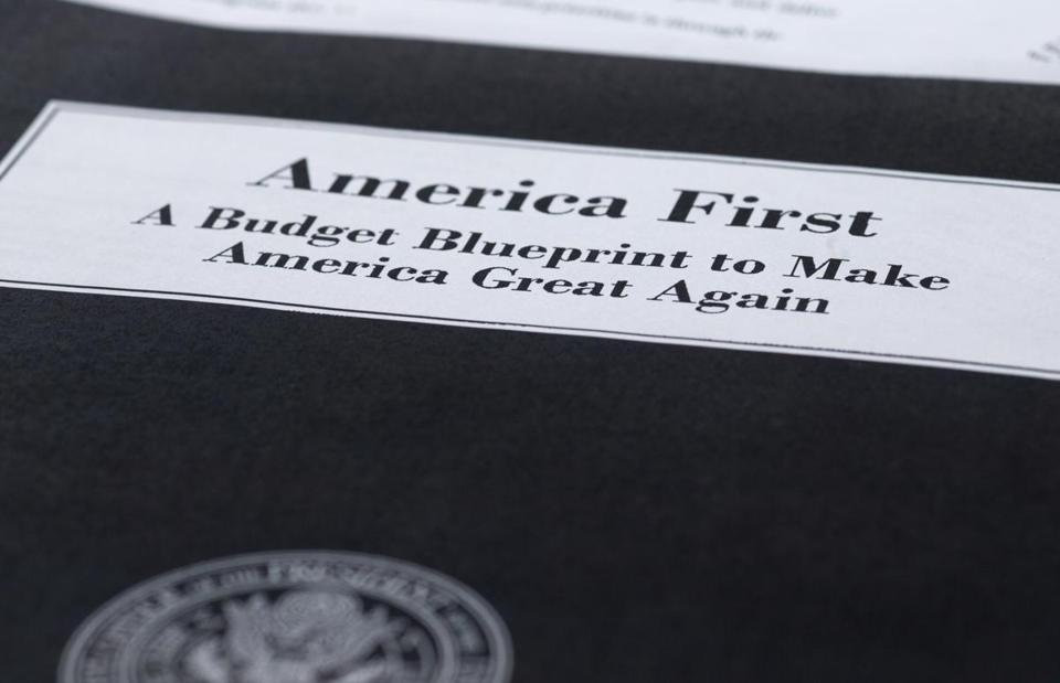 President Donald Trump's first proposed budget, released by the Office of Management and Budget, is photographed in Washington, Wednesday, March 15, 2017. (AP Photo/Jon Elswick)