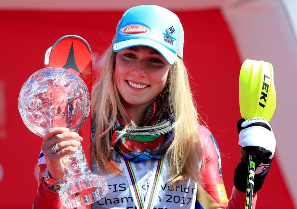 ASPEN, CO - MARCH 18: Mikaela Shiffrin of the United States celebrates with her globe for winning the season title for the ladies' Slalom during the 2017 Audi FIS Ski World Cup Finals at Aspen Mountain on March 18, 2017 in Aspen, Colorado. (Photo by Tom Pennington/Getty Images)