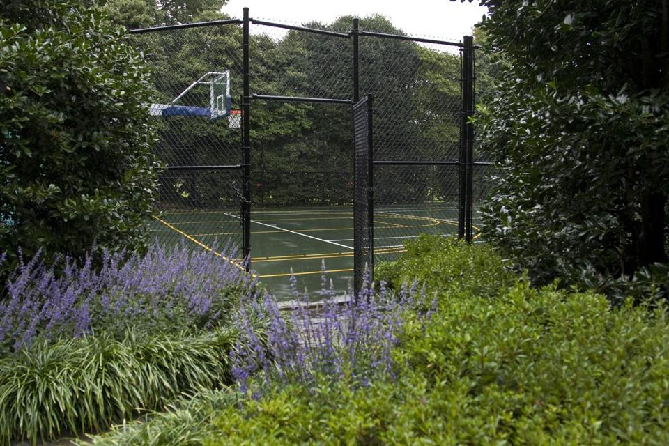 The tennis and basketball court is seen near the Children's Garden at the White House.