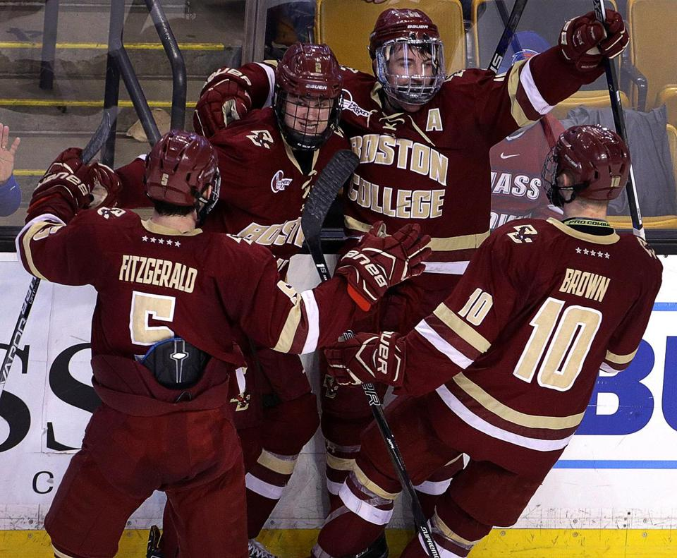 Boston, MA - 3/17/2017 - (2nd period) Boston College Eagles forward Ryan Fitzgerald (19) celebrates with his teammates after scoring in the second period. Boston University takes on Boston College in Hockey East semifinals at TD Garden. - (Barry Chin/Globe Staff), Section: Sports, Reporter: JohnPowers, Topic: 18Hockey East semifinals, LOID:8.3.1908572983.