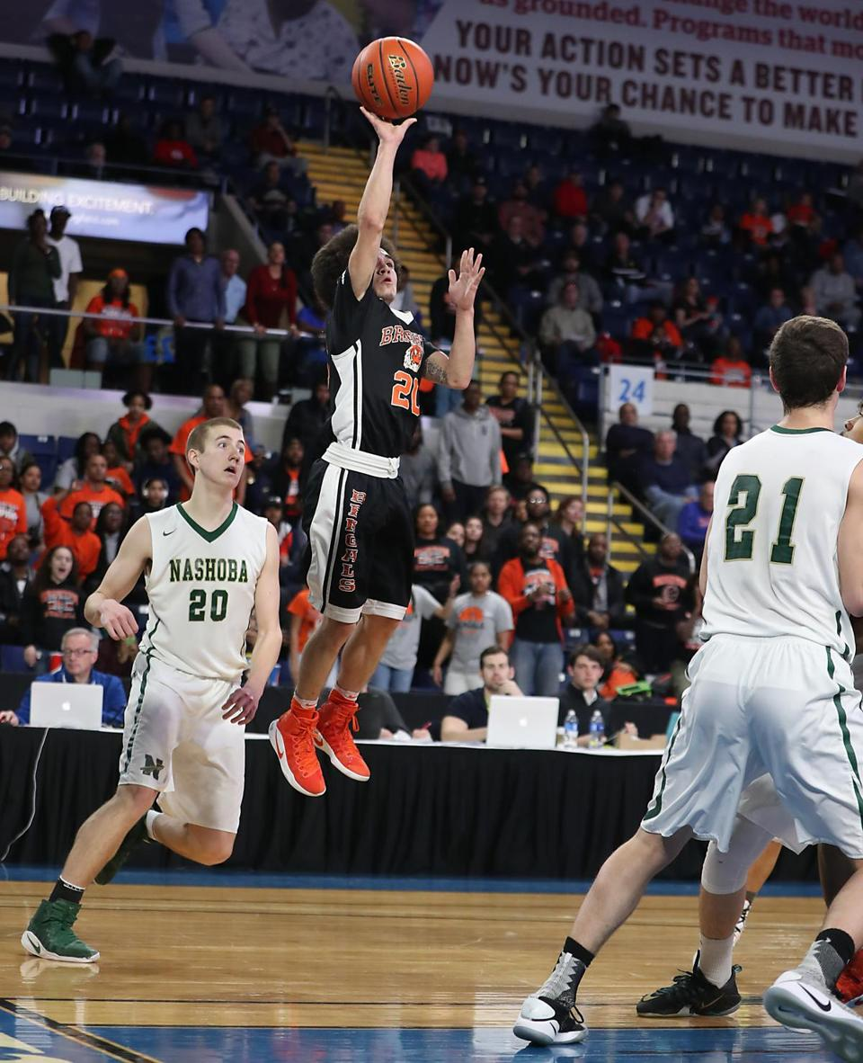 Springfield MA 3/18/17 Brighton High School Bengals Johnny Ortiz knocks down a baseline jumper beating Nashoba High Chieftains Connor Jesson during second half action of the 2017 MIAA Boys Division 2 State Finals at MassMutual Center. (Photo by Matthew J. Lee/Globe staff) topic: reporter: