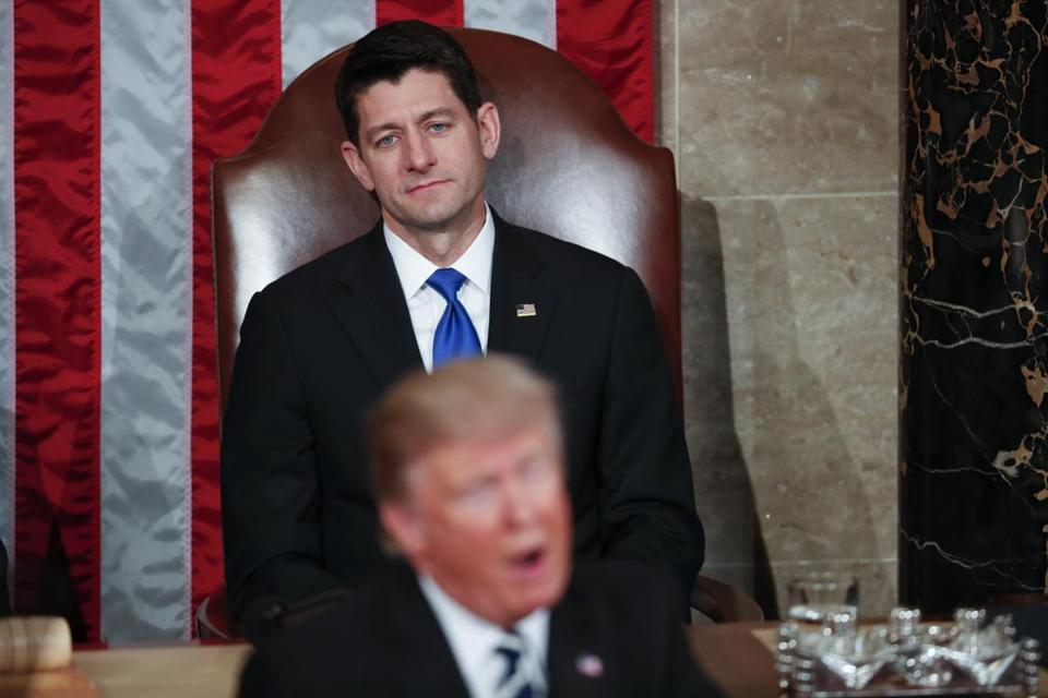 House Speaker Paul Ryan looked on as President Trump addressed a joint session of Congress last month.