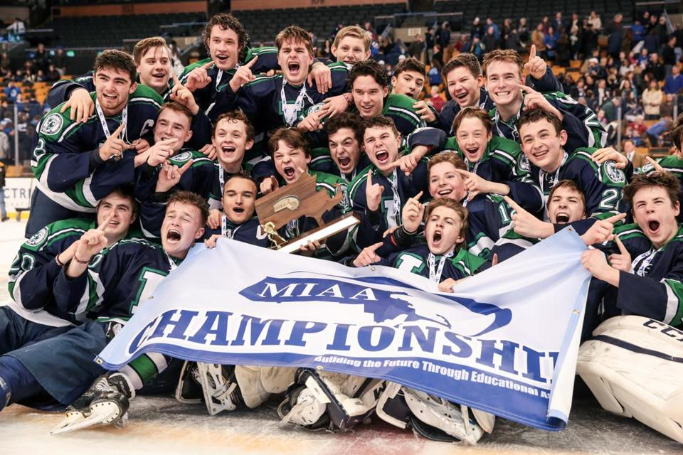 03/19/2017 BOSTON, MA Lowell Catholic celebrated their win after the Division 2 finals between the Scituate Sailors and the Lowell Catholic Crusaders at the MIAA High School Hockey Tournament held at TD Garden in Boston. (Aram Boghosian for The Boston Globe)