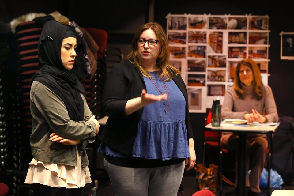 "From left: ""Paradise"" cast member Caitlin Nasema Cassidy, director Shana Gozansky, and playwright Laura Maria Censabella."