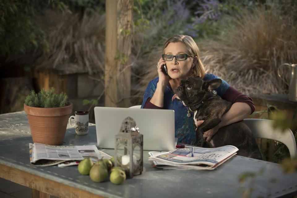 "Carrie Fisher in ""Catastrophe."""