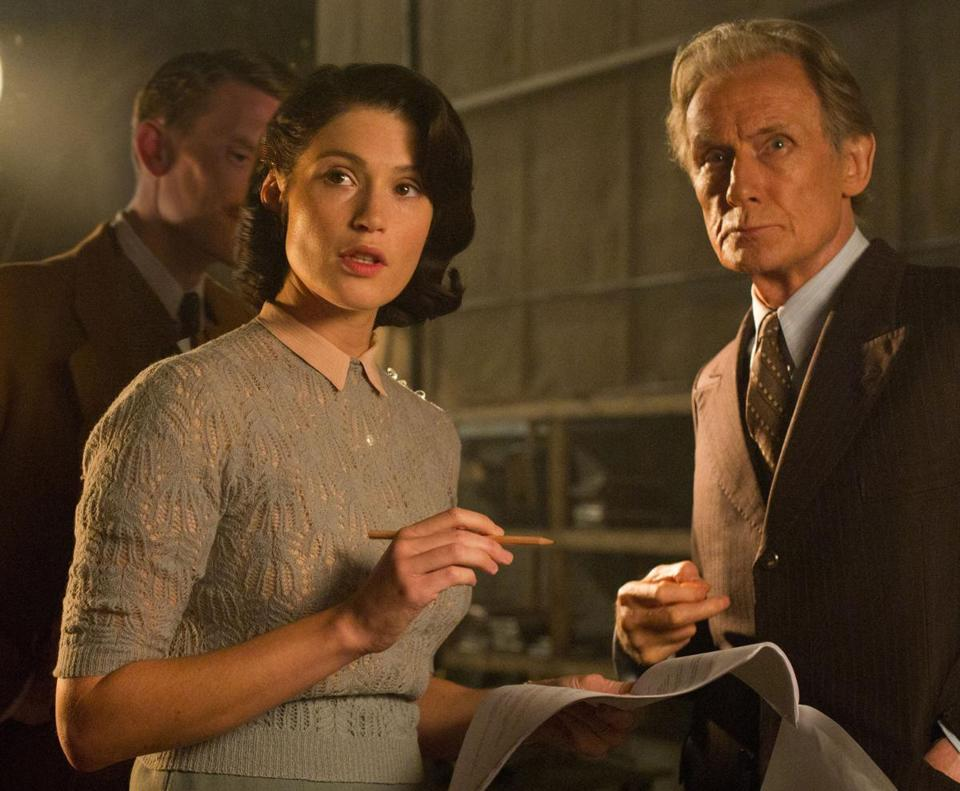 "Gemma Arterton and Bill Nighy in ""Their Finest."""