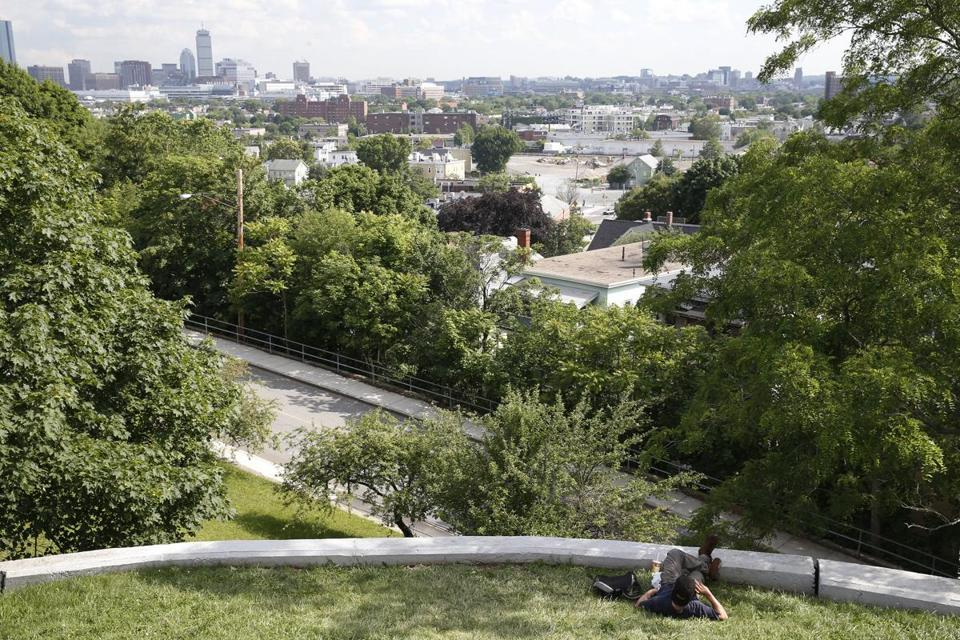 Somerville, Massachusetts -- 6/22/2015-- A man takes in the view from Prospect Hill as he talks on his cell phone in Somerville, Massachusetts June 22, 2015. Jessica Rinaldi/Globe Staff Topic: Reporter: