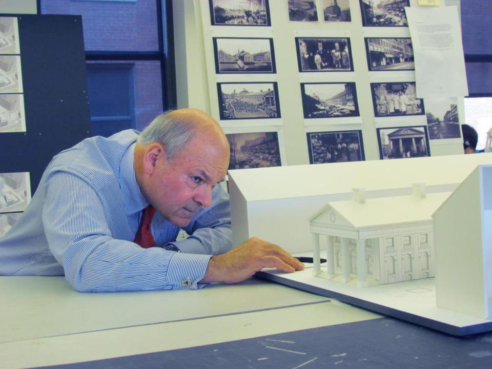 Howard Elkus at his desk in Elkus Manfredi Architects, the firm he cofounded in 1988.