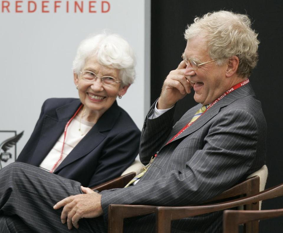 "FILE - In this Sept. 7, 2007, file photo, David Letterman, right, the host of ""The Late Show with David Letterman"" on CBS, and his mother Dorothy Mengering share a laugh during the dedication of the $21 million David Letterman Communication and Media Building on the campus in Muncie, Ind. Mengering died Tuesday, April 11, 2017, his publicist Tom Keaney confirmed. She was 95. (AP Photo/Michael Conroy, File)"