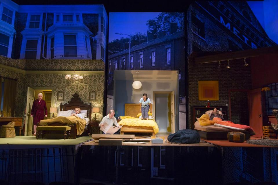 "The stage for the Huntington Theatre Company's production of ""Bedroom Farce."" The Huntington, which is known for the generally high quality of its stage design, is moving its scenic, prop, and paint shops to Everett."