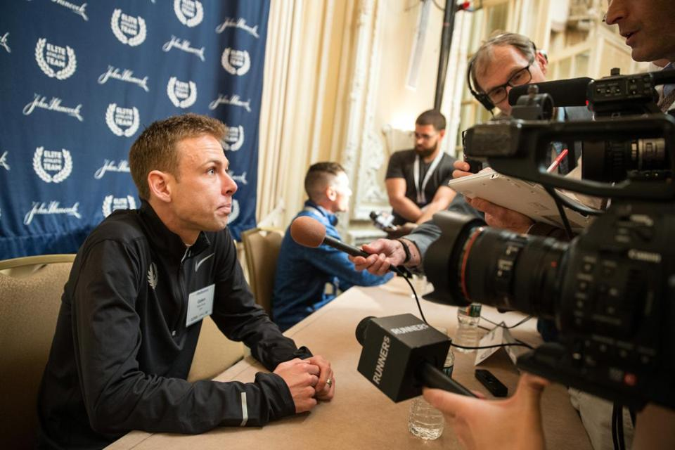 04/14/2017 BOSTON, MA Galen Rupp (cq) was interviewed during an elite athlete media conference for the Boston Marathon held at Fairmont Copley Plaza Hotel. (Aram Boghosian for The Boston Globe)