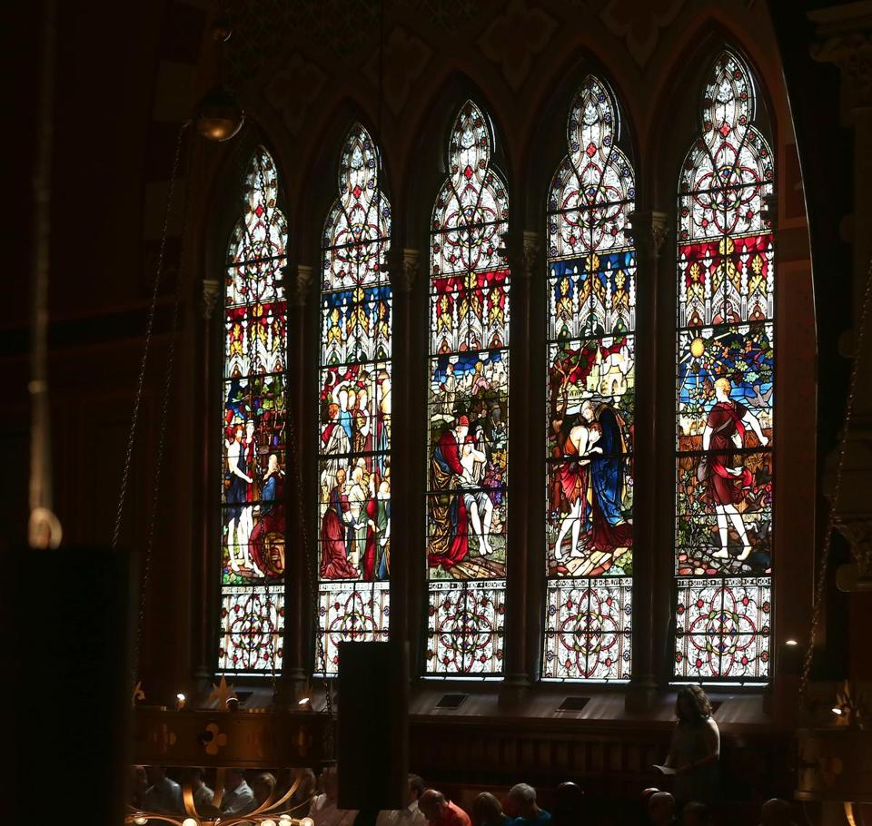 Boston, MA--4/16/2017 - The stained glass windows at Old South Church could be darkened if a proposed tower is built at Back Bay Station. Photo by Pat Greenhouse/Globe Staff Topic: 17oldsouth Reporter: Timothy Logan
